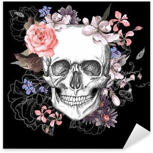 Nálepka Lebka a květiny Den mrtvých