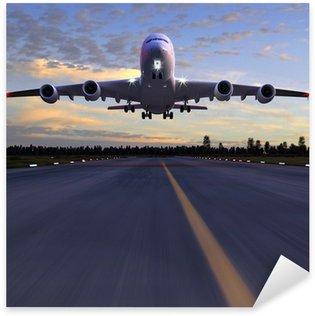 Nálepka Pixerstick Letadlo přistání 3D ilustrace