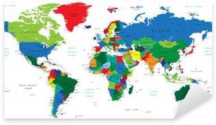 Nálepka Pixerstick Mapa světa-země