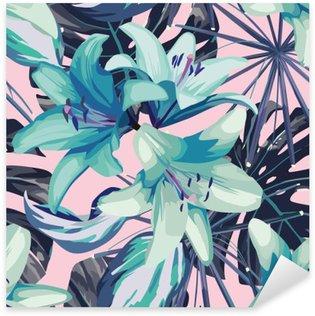 Nálepka Modré lilie a listy bezproblémové pozadí
