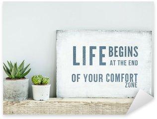 Nálepka Motivační plakát quote LIFE začíná na konci komfortu ZONE