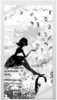Nálepka na Dveře Abstraktní konstrukce s textem dívka grunge