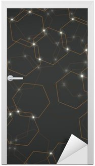 Nálepka na Dveře Abstraktní pozadí šestiúhelníkových buněk, geometrické tvary vektorové ilustrace eps 10
