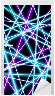 Nálepka na Dveře Abstraktní vektor pozadí, více zářící čáry, geometrie, technologie, neon tapeta