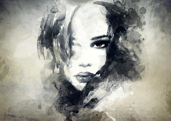 Nálepka na Dveře Abstraktní žena, portrét -