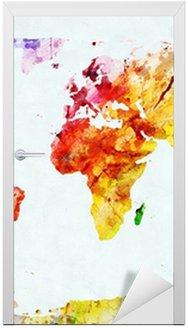 Nálepka na Dveře Akvarel mapa světa