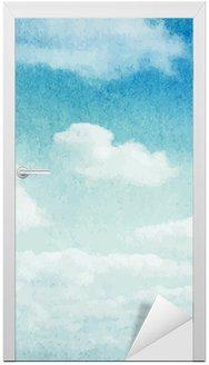 Nálepka na Dveře Akvarel mraky a obloha na pozadí