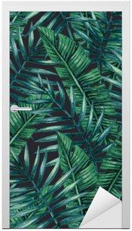 Nálepka na Dveře Akvarel Tropické palmové listy bezproblémové vzor. Vektorové ilustrace.