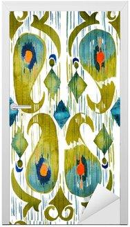 Nálepka na Dveře Akvarel zelená ikat pulzující bezešvé vzor. Trendy kmenový v akvarelu stylu. Peacock peří.