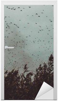 Nálepka na Dveře Banda ptáků letící v blízkosti třtiny v temném sky- vintage stylu black and white