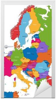 Nálepka na Dveře Barevné Mapa Evropy se zeměmi a hlavní města