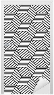 Nálepka na Dveře Bezešvé geometrický vzor s kostkami.