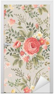 Nálepka na Dveře Bezešvé květinový vzor s růžemi