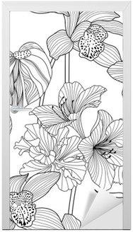Nálepka na Dveře Bezešvé květinový vzor