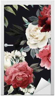 Nálepka na Dveře Bezešvé květinovým vzorem s růží, akvarel. vektor illustrat
