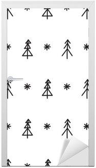 Nálepka na Dveře Bezešvé Vánoční strom vzor