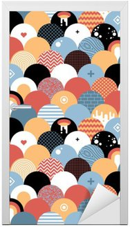 Nálepka na Dveře Bezproblémová geometrický vzor v plochém stylu. Užitečné pro balení, tapety a textilu.
