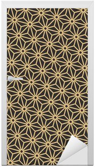 Nálepka na Dveře Bezproblémová starožitné paleta černé a zlaté úhlopříčka japonské asanoha pattern vector
