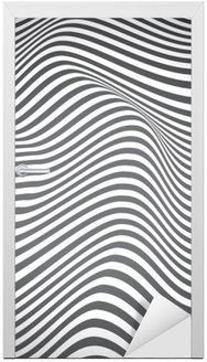Nálepka na Dveře Černá a bílá křivkami, povrchové vlny, vektorové design