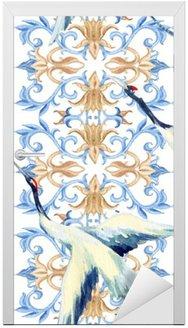 Nálepka na Dveře Čínský akvarel bezešvé vzor