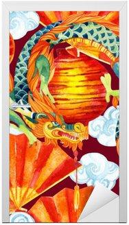Nálepka na Dveře Čínský drak akvarel bezešvé vzor.