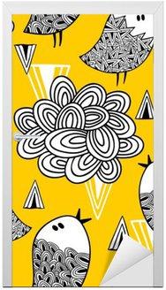 Nálepka na Dveře Creative bezproblémové vzorek s doodle ptáků a designových prvků.
