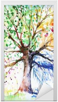 Nálepka na Dveře Čtyři sezóny strom