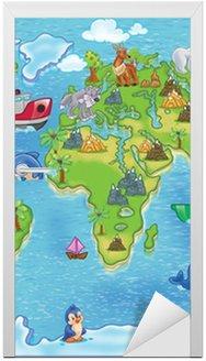 Nálepka na Dveře Děti mapa světa