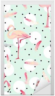 Nálepka na Dveře Flamingo Bird pozadí. Flamingo Peří na pozadí. Retro bezešvé vzor