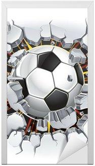 Nálepka na Dveře Fotbalový míč a Old poškození omítka. Vektorové ilustrace