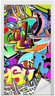 Nálepka na Dveře Graffiti stěna. Urban art vektor pozadí. Bezešvé vzor