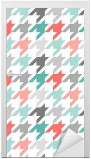 Nálepka na Dveře Houndstooth bezešvé vzor, barevné