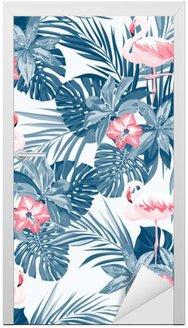 Nálepka na Dveře Indigo tropické léto bezproblémové vzorek s ptáky plameňáka a exotických květin