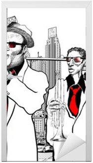 Nálepka na Dveře Jazzová kapela v ulici New Yorku