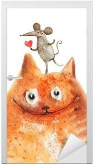 Nálepka na Dveře Kočka s Mause