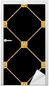 Nálepka na Dveře Kosočtverec bezešvé vzor. Zlaté třpytky a černá šablona. Abstraktní geometrické textury. Zlatý ornament. Retro, Vintage dekorace. Šablona návrhu tapety, balení, textilie atd. Vektorové ilustrace.