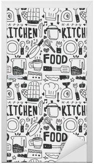 Nálepka na Dveře Kuchyň prvky čmáranice kreslené ručně řádek ikon, eps10
