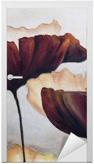 Nálepka na Dveře Mák abstraktní malby