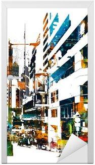 Nálepka na Dveře Moderní městské město, ilustrační natírání