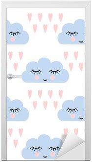 Nálepka na Dveře Mraky vzor. Bezproblémové vzorek s úsměvem na spaní mraky a srdce pro děti prázdniny. Roztomilé miminko vektor pozadí. Dítě kresba ve stylu deštivé mraky v lásce vektorové ilustrace.