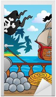 Nálepka na Dveře Pirátská loď paluba téma 4
