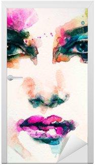 Nálepka na Dveře Portrét ženy .abstract akvarel .fashion pozadí