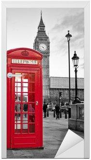 Nálepka na Dveře Red telefonní budka v Londýně s Big Ben v černé a bílé