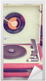 Nálepka na Dveře Retro stylizovaný obraz starého gramofonu