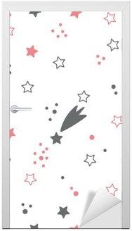 Nálepka na Dveře Roztomilý bezproblémové vzorek s hvězdami. Místo na pozadí