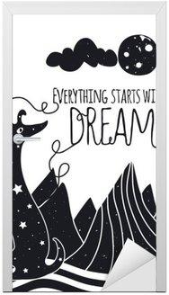 Nálepka na Dveře Roztomilý romantický vektorové ilustrace se psem při pohledu na měsíc. Vše začíná se snem. Hvězdy, hory a mraky.
