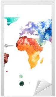 Nálepka na Dveře Ručně malovaná akvarel akvarel světa mapa ilustrace.
