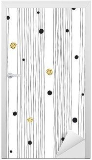 Nálepka na Dveře Ručně tažené bezešvé vzor na bílém pozadí s tenká čára A