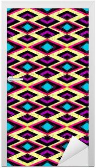 Nálepka na Dveře Růžová a fialová polygony na světlém pozadí bezešvé geometrický vzor