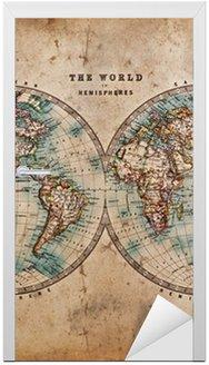 Nálepka na Dveře Stará mapa světa v hemisfér